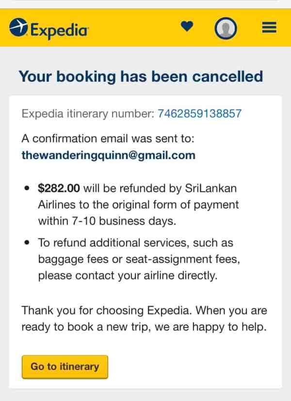 proof of onward travel, Expedia.com flight cancellation