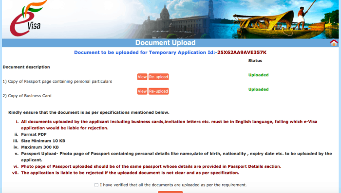 Indian visa online application document upload screen | How To Apply For an Indian Tourist Visa