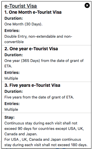 Tourist Visa for India