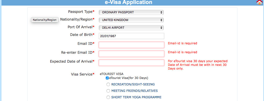 applying for india tourist visa