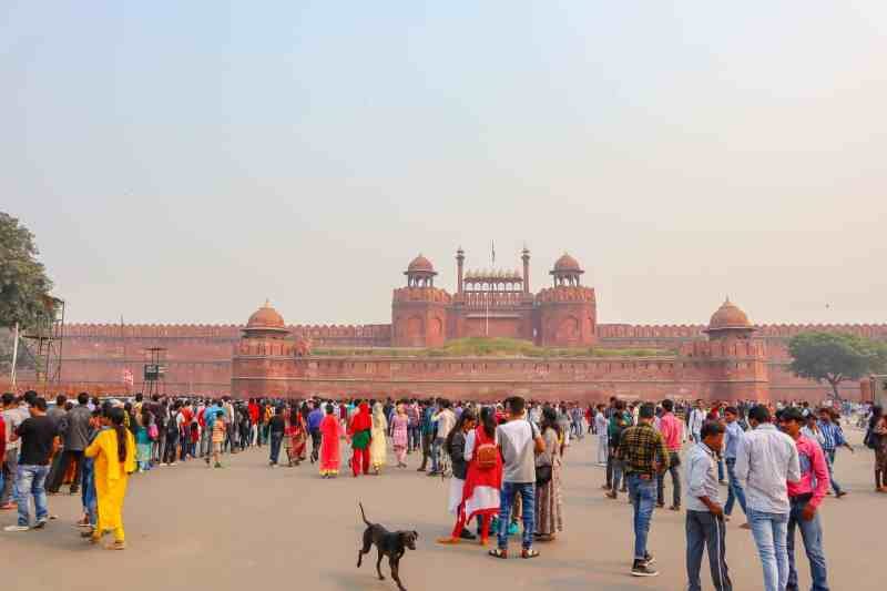 Red Fort in Old Delhi with crowds