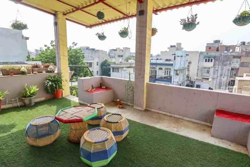 rooftop with seating at Prakash Kutir B&B Delhi