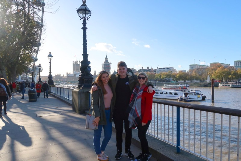 London in Winter, three people in London wearing winter outfits