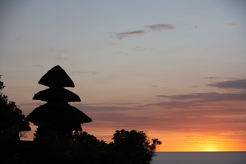 bali sunset and temple | best places to travel in Asia December and January
