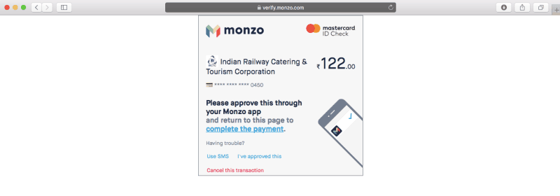IRCTC payment page authorisation