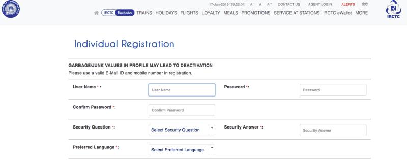 IRCTC Registration page