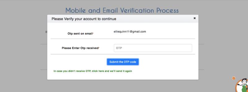 IRCTC registration verification page