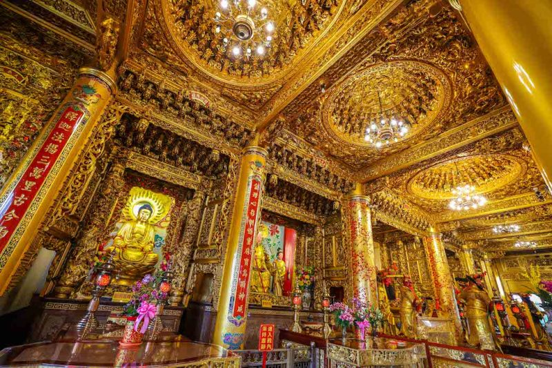 Chi Ming Temple inside with lots of gold Lotus Pond Kaohsiung how to visit