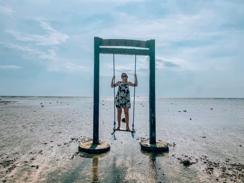 Gili Trawangan swing, ellie quinn on Gili T swing when tide is out