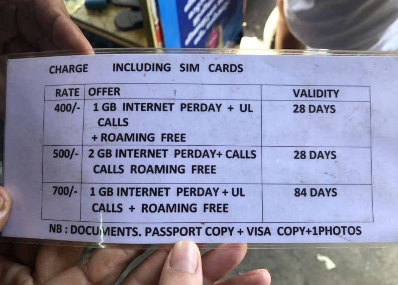 sim card in India, rates and prices of sim cards in India