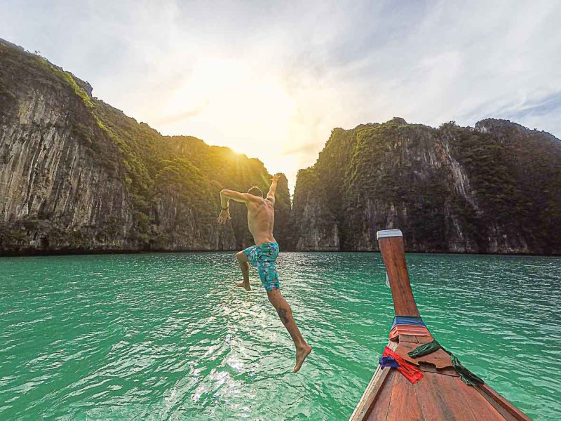koh phi phi boat and limestone | best places to travel in Asia December and January