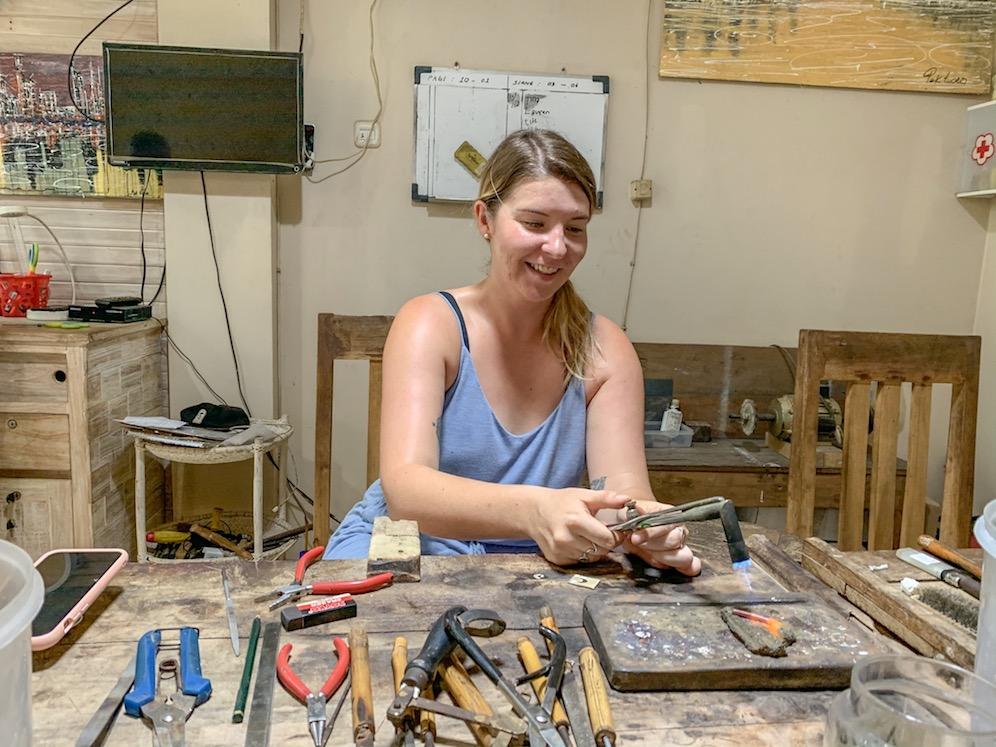 ellie quinn making jewellery at Yin Jewelry