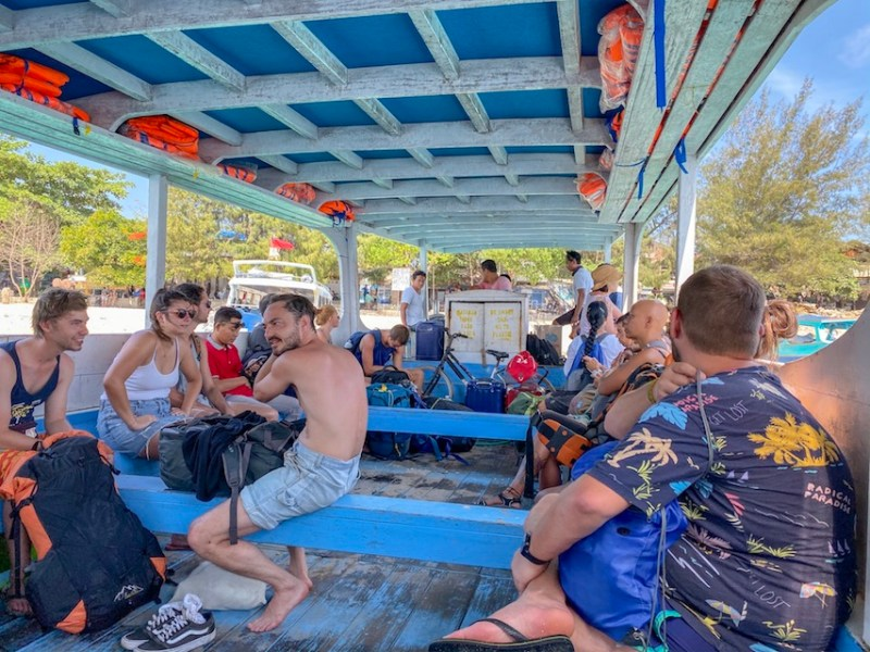 Inside the Slow Boat from Gili Trawangan | getting around the Gili islands