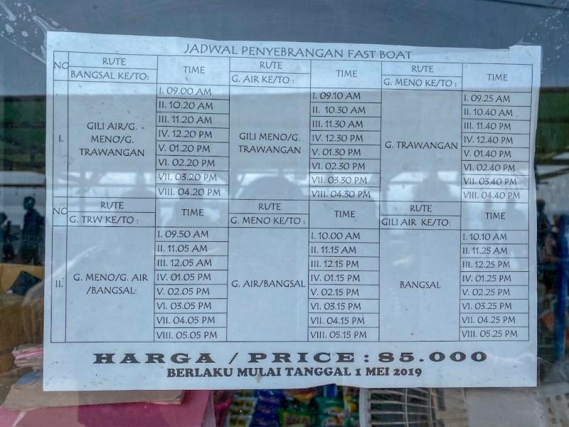 Gili Trawangan itinerary, Gili islands fast boat schedule from Gili T