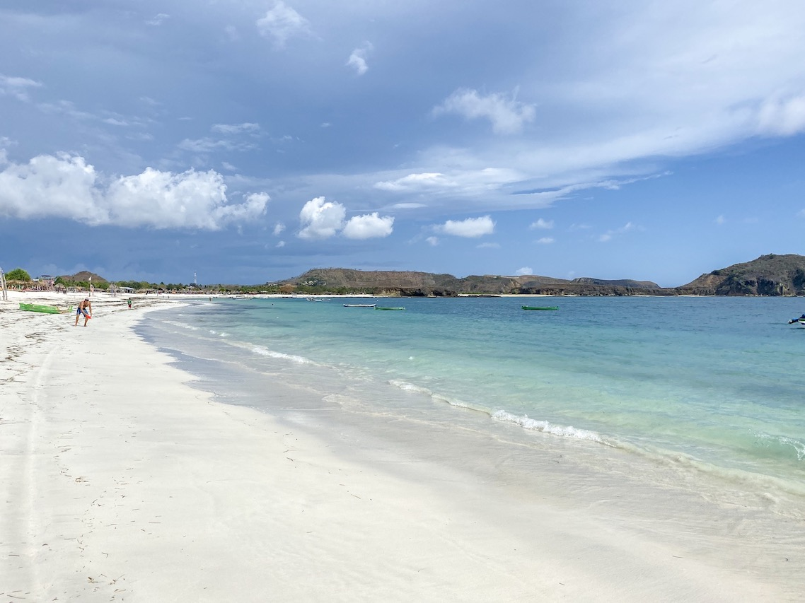 Bali Lombok itinerary, white sand in Tanjung Aan Beach