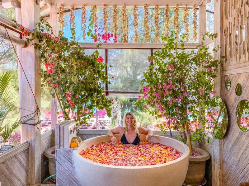 Gili Islands, ellie quinn in flower bath in Gili T