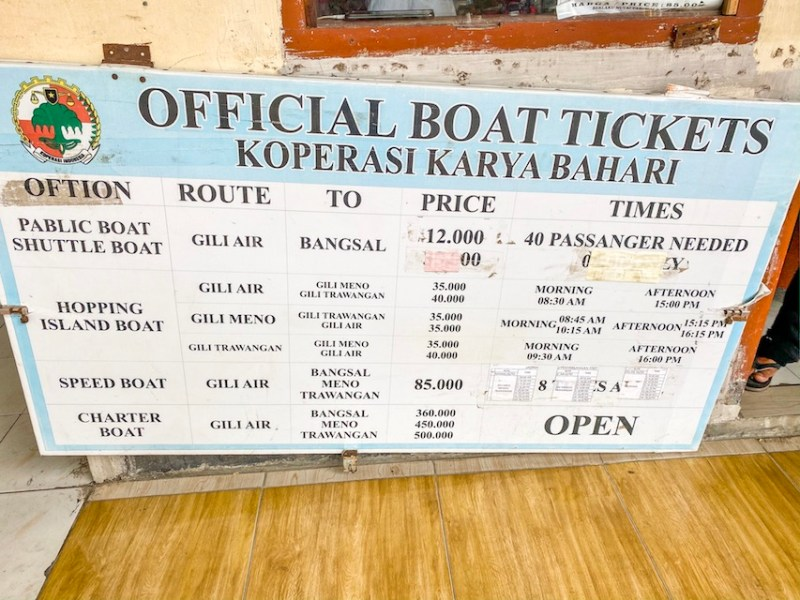 Gili Air boat Schedule to Gili T and Gili Meno