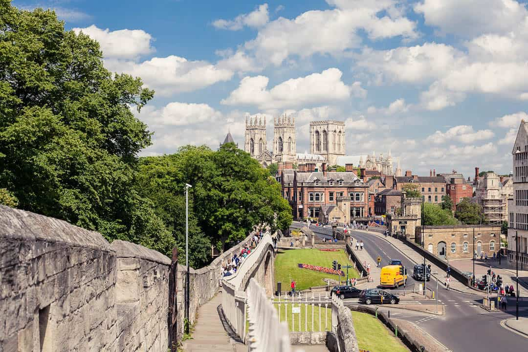 York City Walls and Cathedral blue sky | York day trip by train from London