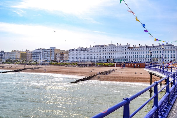 Eastbourne beach pier blue sky | Eastbourne day trip from London by train