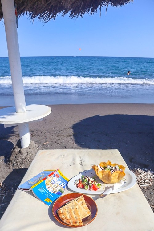 Santorini on a budget, Greek Salad on Beach in Santorini