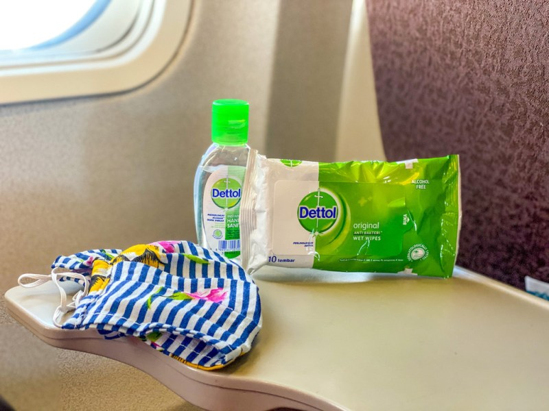 flying during pandemic, hand sanitiser and wipes