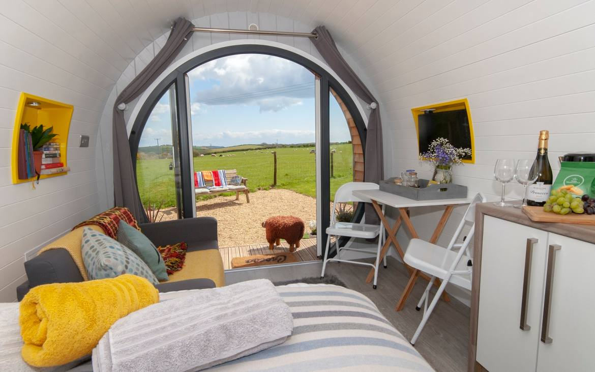 Glamping in Wales with hot tub, Hafan Fach Glamping Pod inside