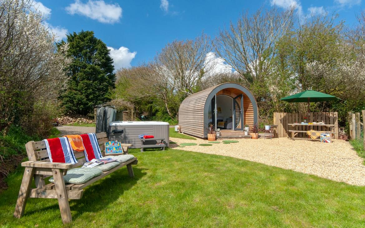 Glamping in Wales with hot tub, Hafan Fach Glamping Pod outside