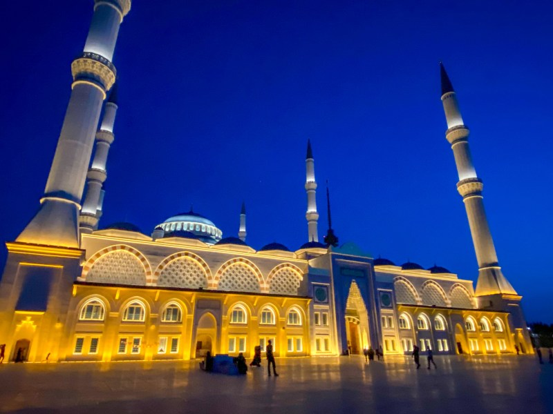 Camlica Mosque, Outside at night