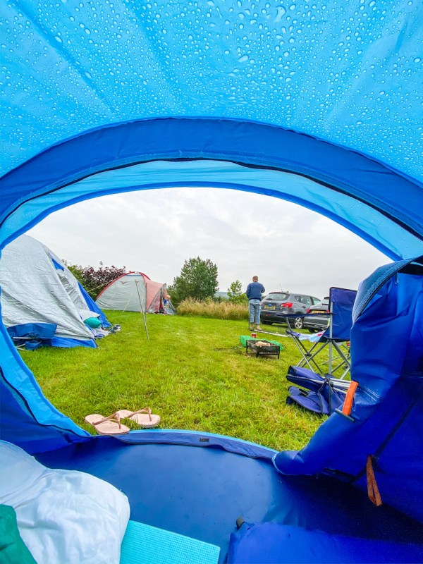 Camping in Wales Wet Tent