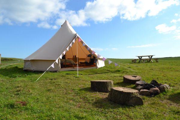 Glamping tent at Becks Bay Camping Tenby
