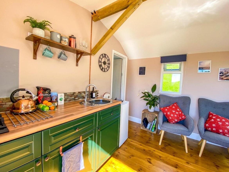 Royal Oak Farm Devon Cabins inside kitchen
