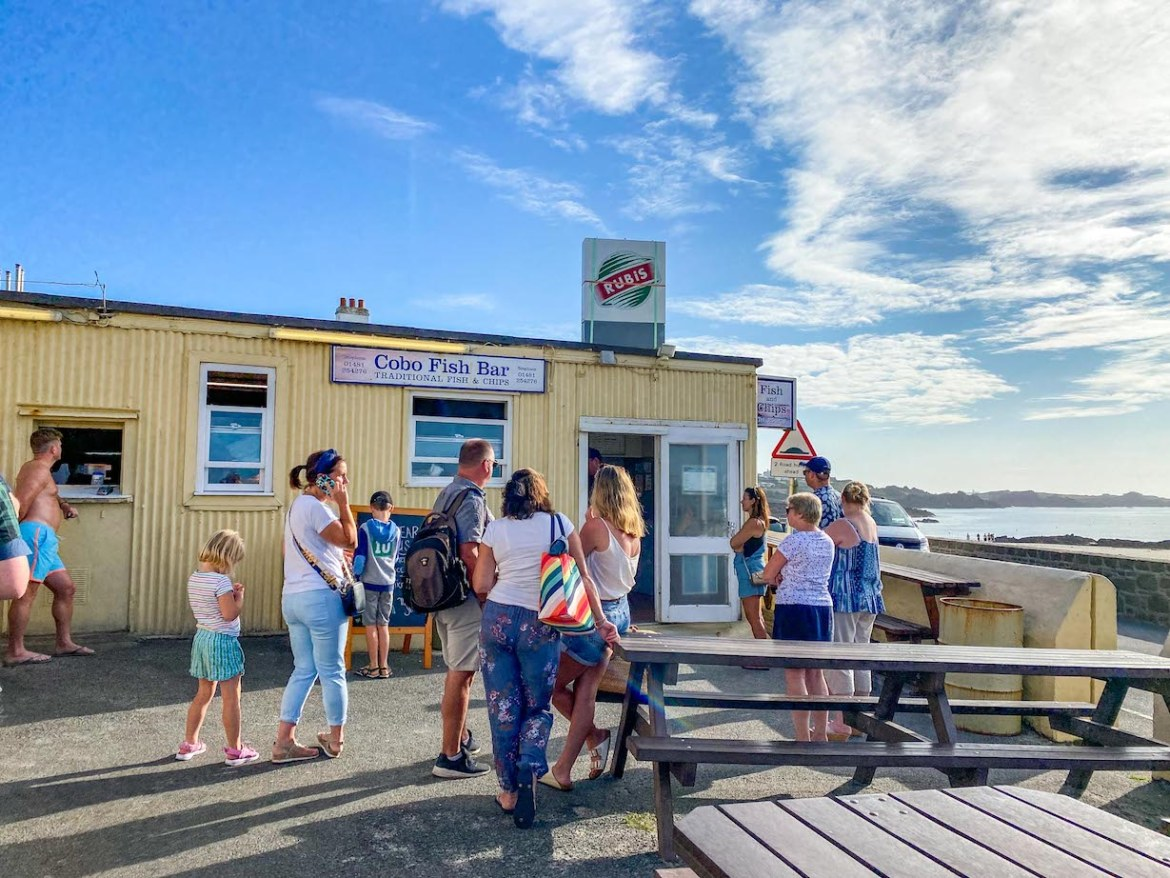 Things to do on Guernsey, Cobo Fish Bar outside