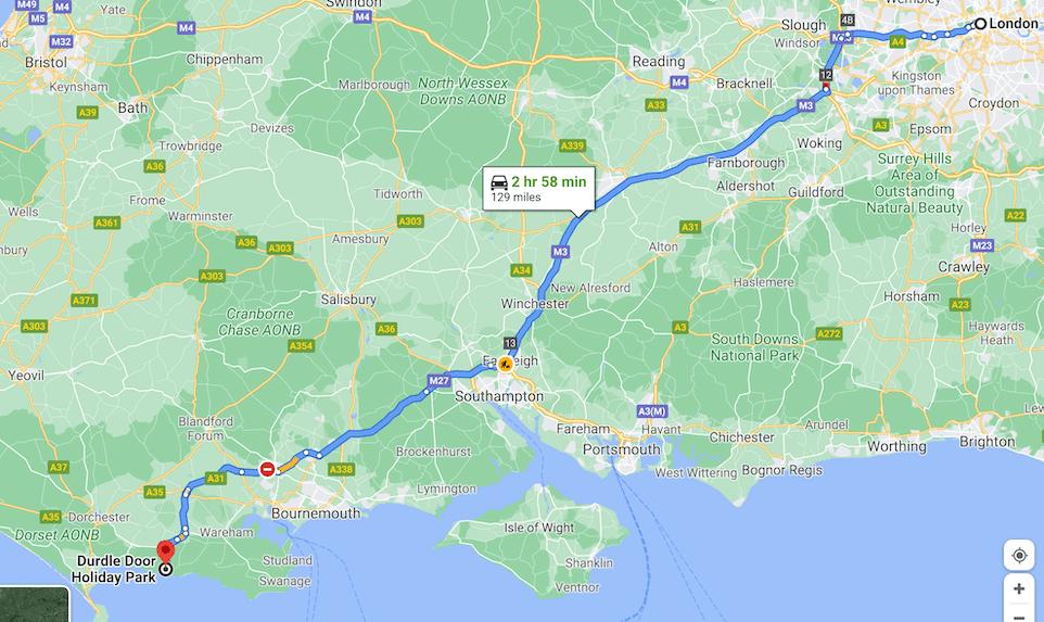 London to Durdle Door Map