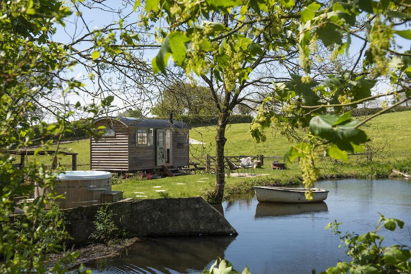 glamping in Devon, Shepherds hut outside