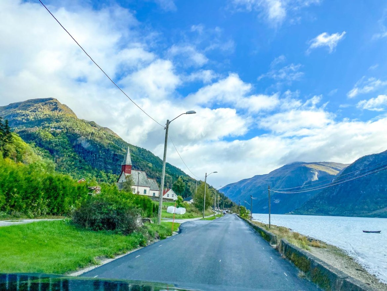 Norway road trip, road along Sognefjorden
