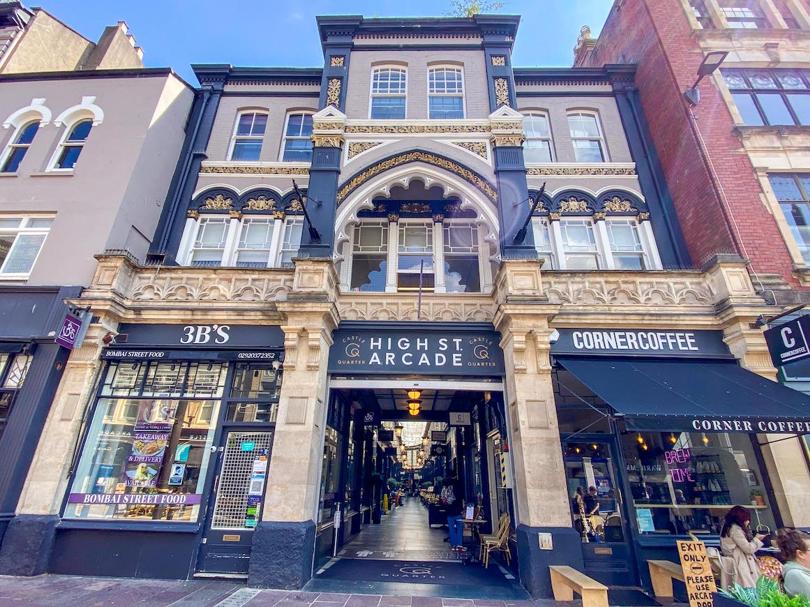 things to do in Cardiff, Shopping Arcade from outside