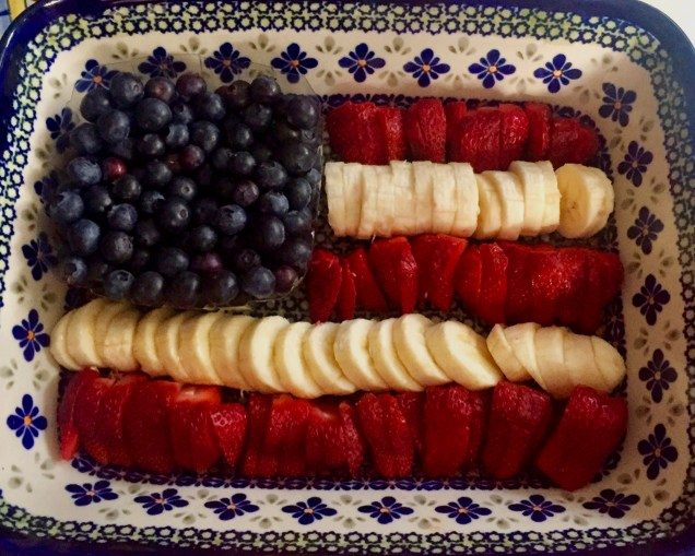Blueberries, Bananas and Strawberries Arranged as a Patriotic Flag