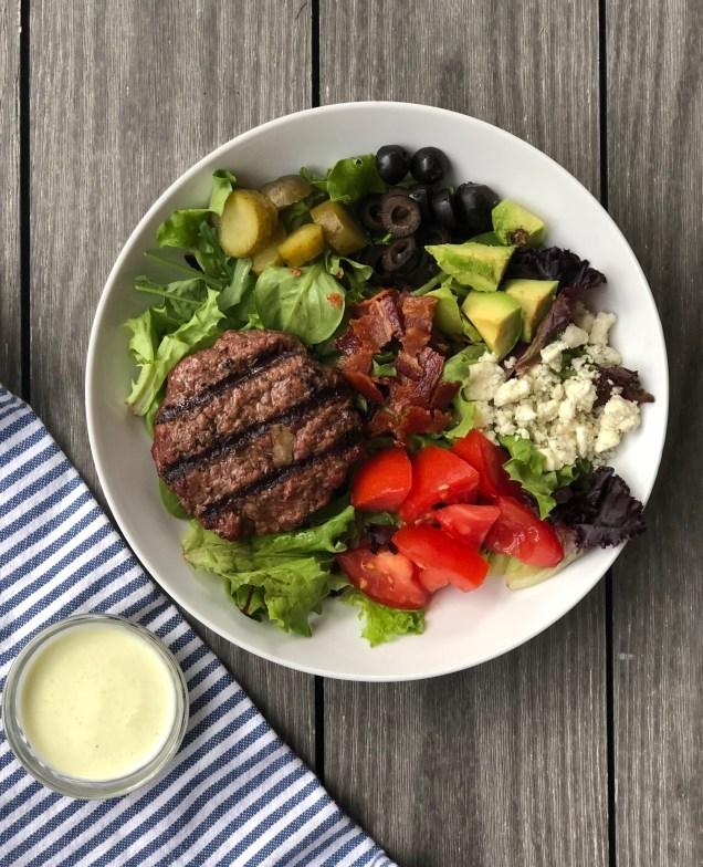 Blue Cheese Bacon Burger Salad