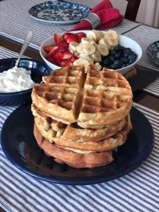 Almond Flour Gluten Free Waffles with Red, White and Blue Fruit