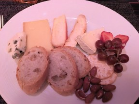 Cheese Plate with grapes and almonds
