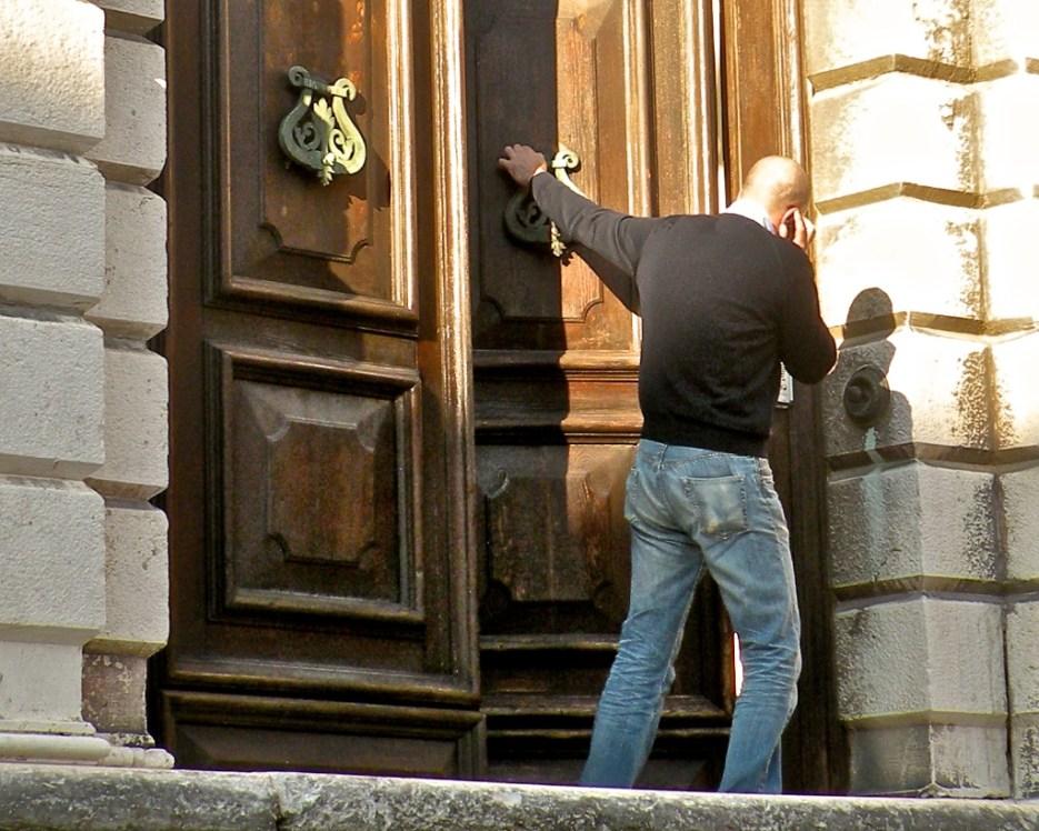 Closing the door ... talking