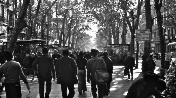 La Rambla in the morning sunshine, Sunday morning