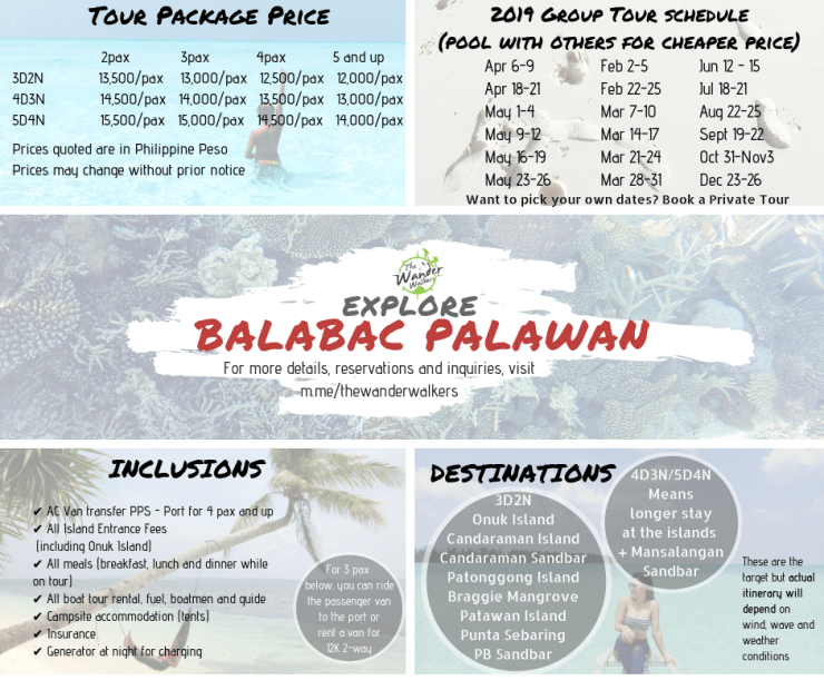 Balabac Package rate