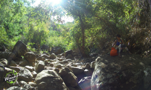The first part of the trail traverses the dry riverbed before starting the assault.