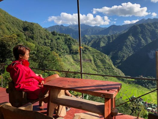 Enjoying the view from Batad Top Viewpoint Restaurant and Homestay
