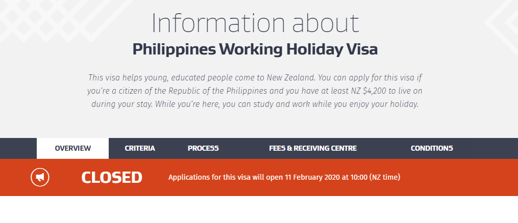 New Zealand Working Holiday Visa for Filipino Opening 2020