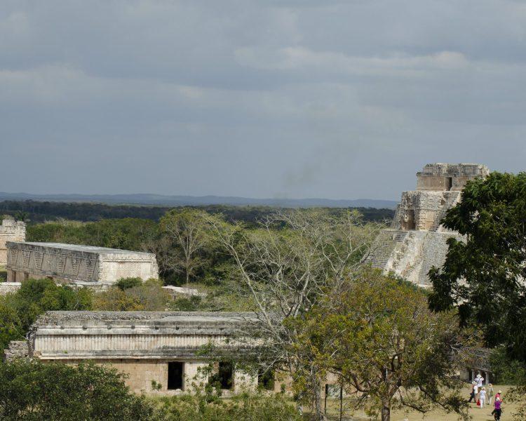 View from the top of the Great Pyramid Uxmal Mayan Ruins Yucatan Mexico