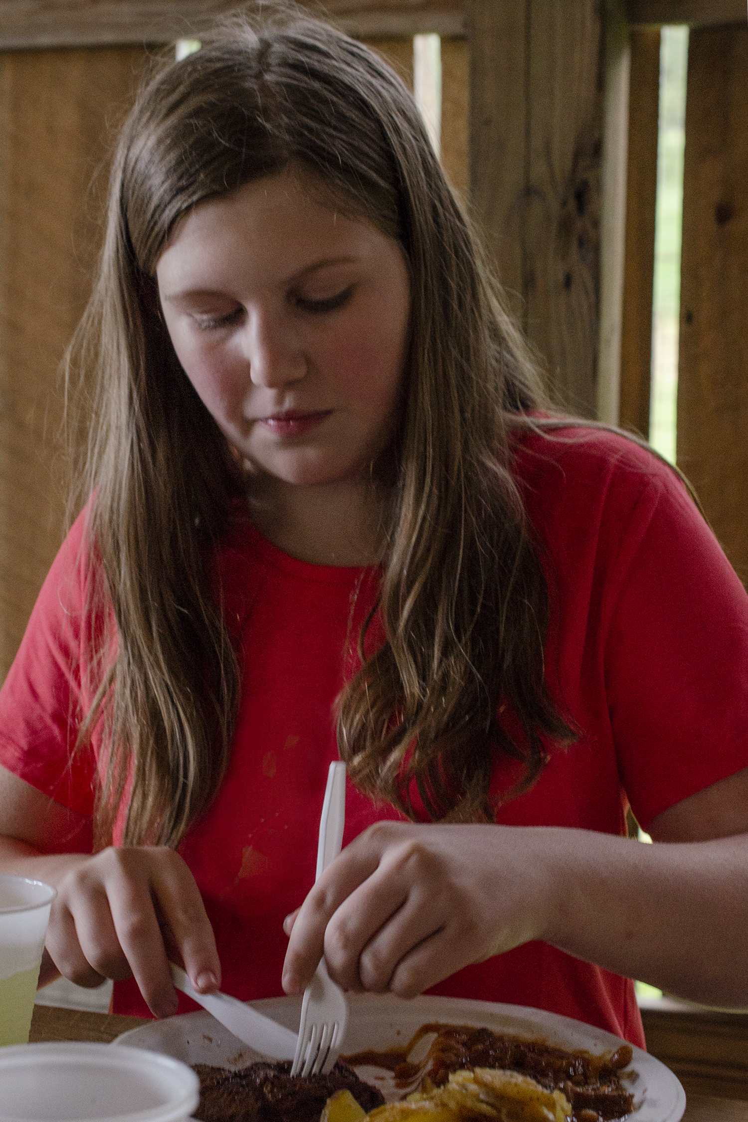 Emilie eating at the Chuckwagon