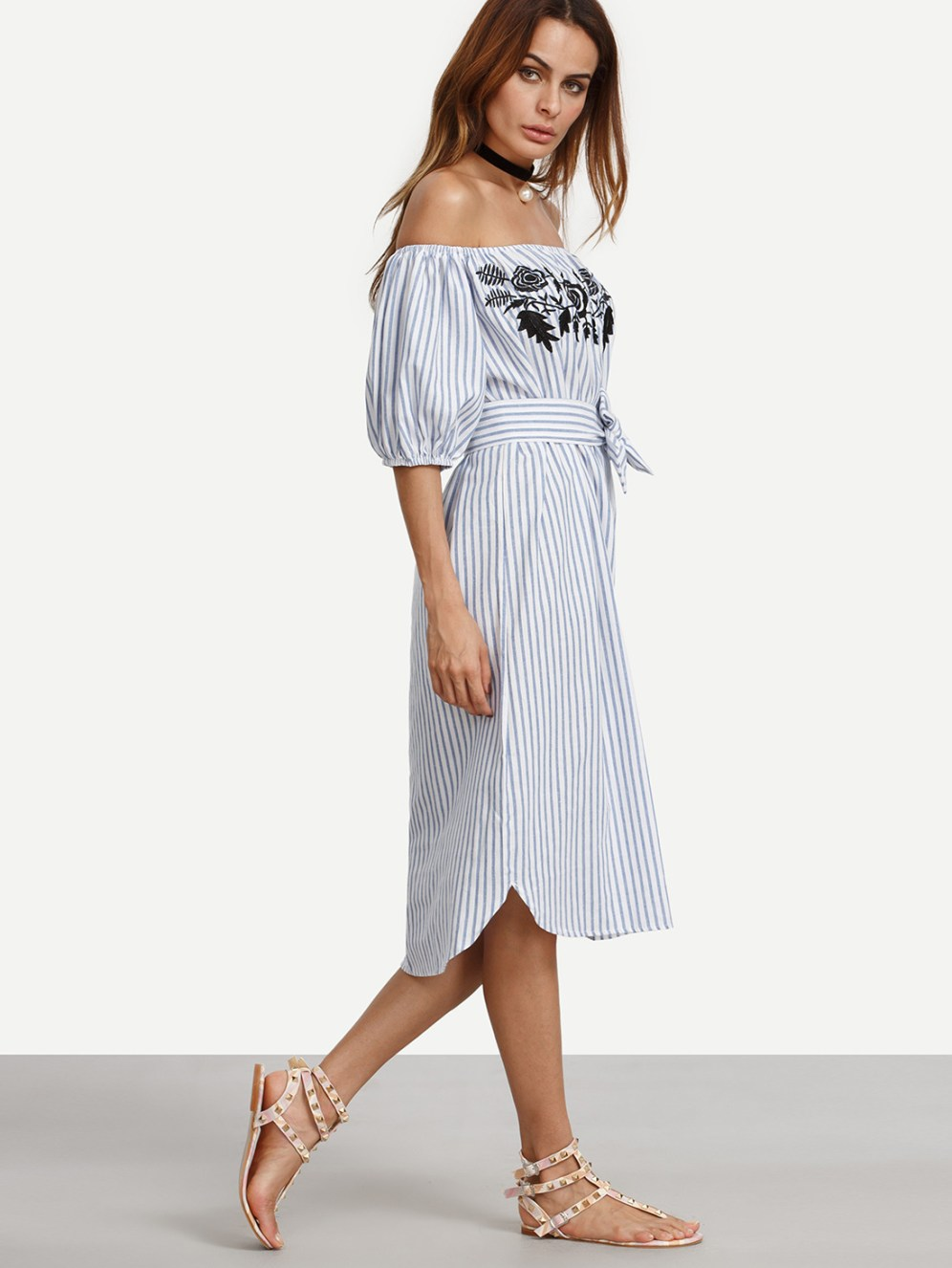http://us.shein.com/Blue-Vertical-Striped-Off-The-Shoulder-Embroidered-Dress-p-291609-cat-1727.html