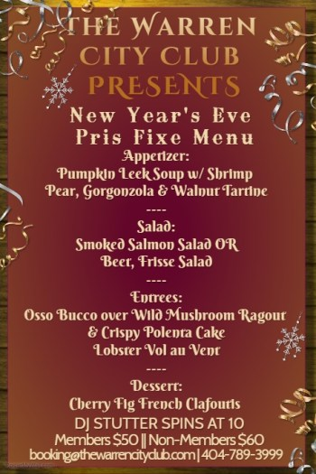 New Year's Eve Celebration Diner Menu